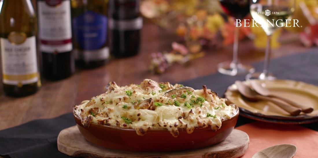 ハロウィンのワインはべリンジャー♪桝谷シェフ監修レシピ「かぼちゃとじゃがいものグラタン」