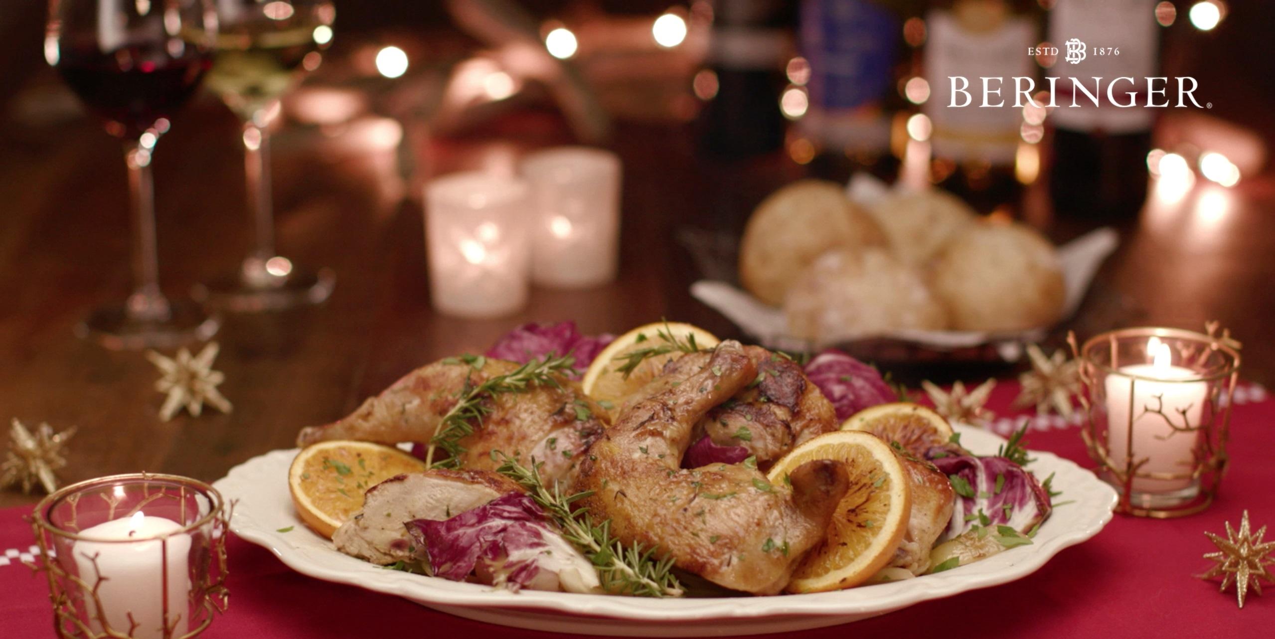 桝谷シェフ監修レシピ、ローストチキン・オレンジソースとクリスマスのテーブルセッティング
