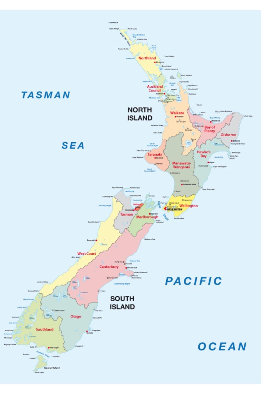 ニュージーランドの主なワイン産地と