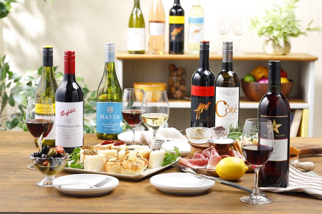 ワインアベニュー限定「俺のBakery&Cafe」とコラボのサンドイッチとワインの食卓イメージ横から
