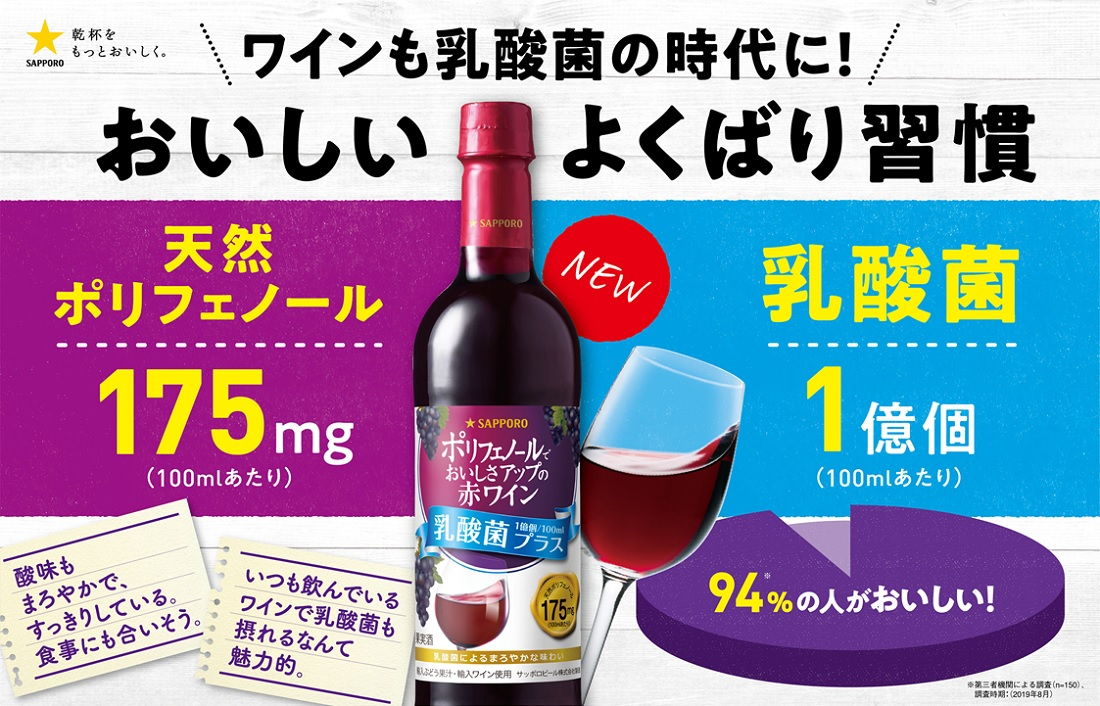 ワインも乳酸菌の時代に!おいしいよくばり習慣「ポリフェノールでおいしさアップ赤ワイン<乳酸菌プラス>」