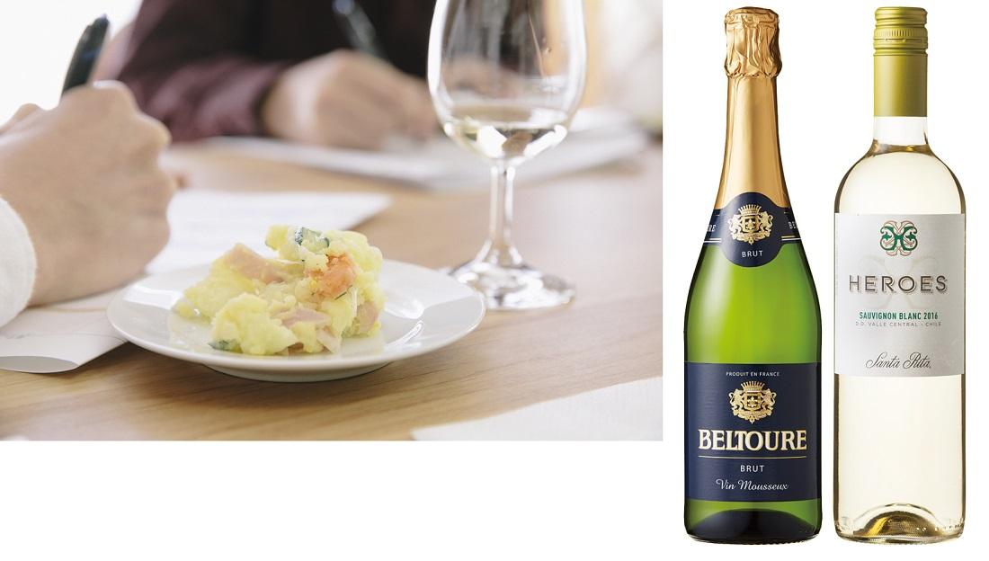 日本ポテトサラダ協会公認のスタンダード(基本形)ポテトサラダに合うベストワイン2アイテムのワインボトルと選定の様子