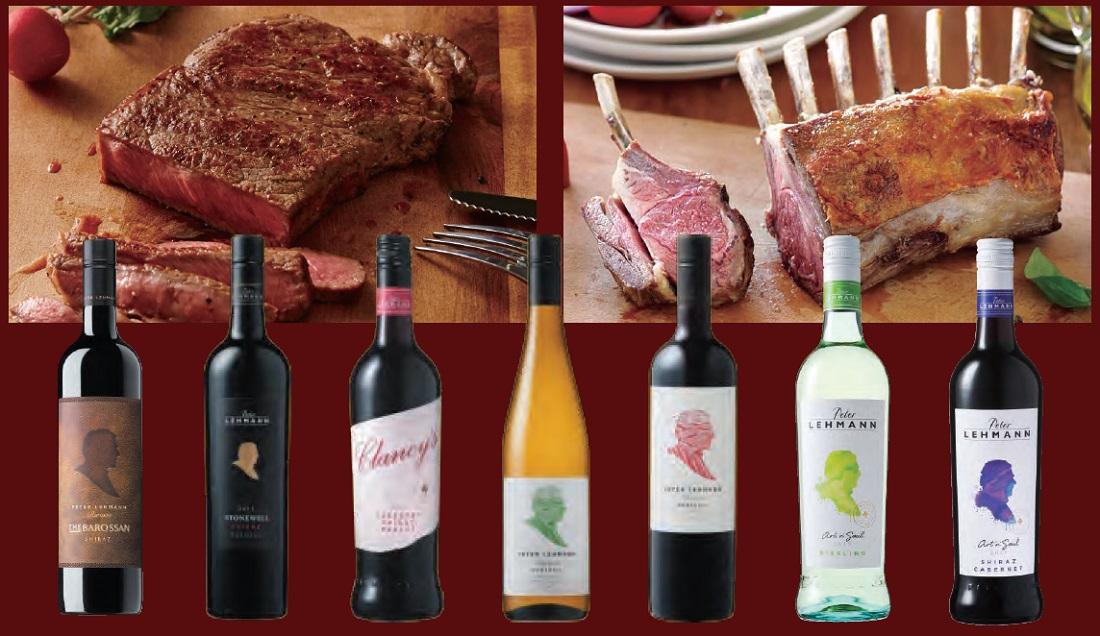 ピーター・レーマンのワインボトルとオージービーフのお肉料理