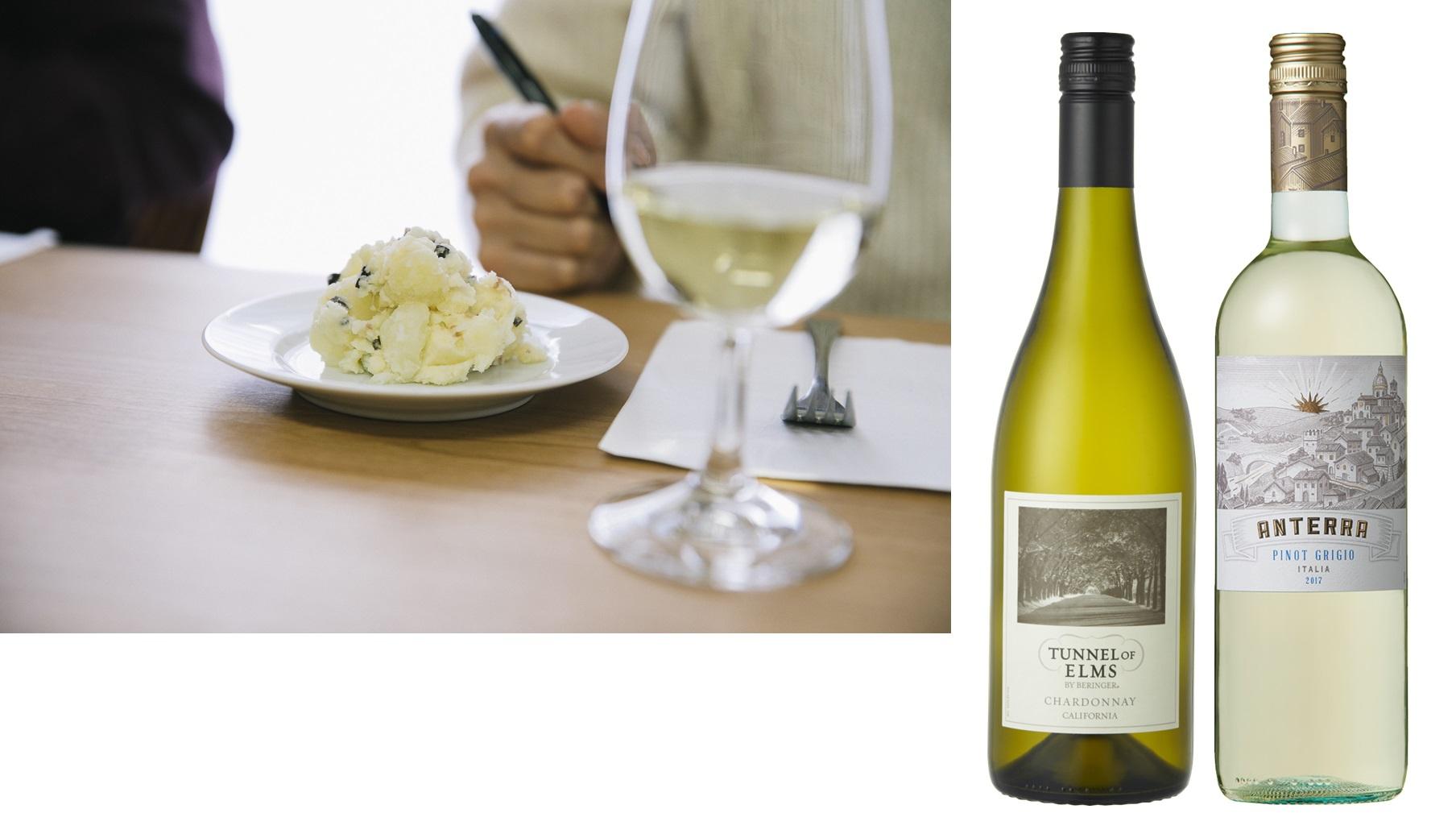 日本ポテトサラダ協会公認の塩味(アンチョビ)系ポテトサラダに合うベストワイン2アイテムのワインボトルと選定の様子