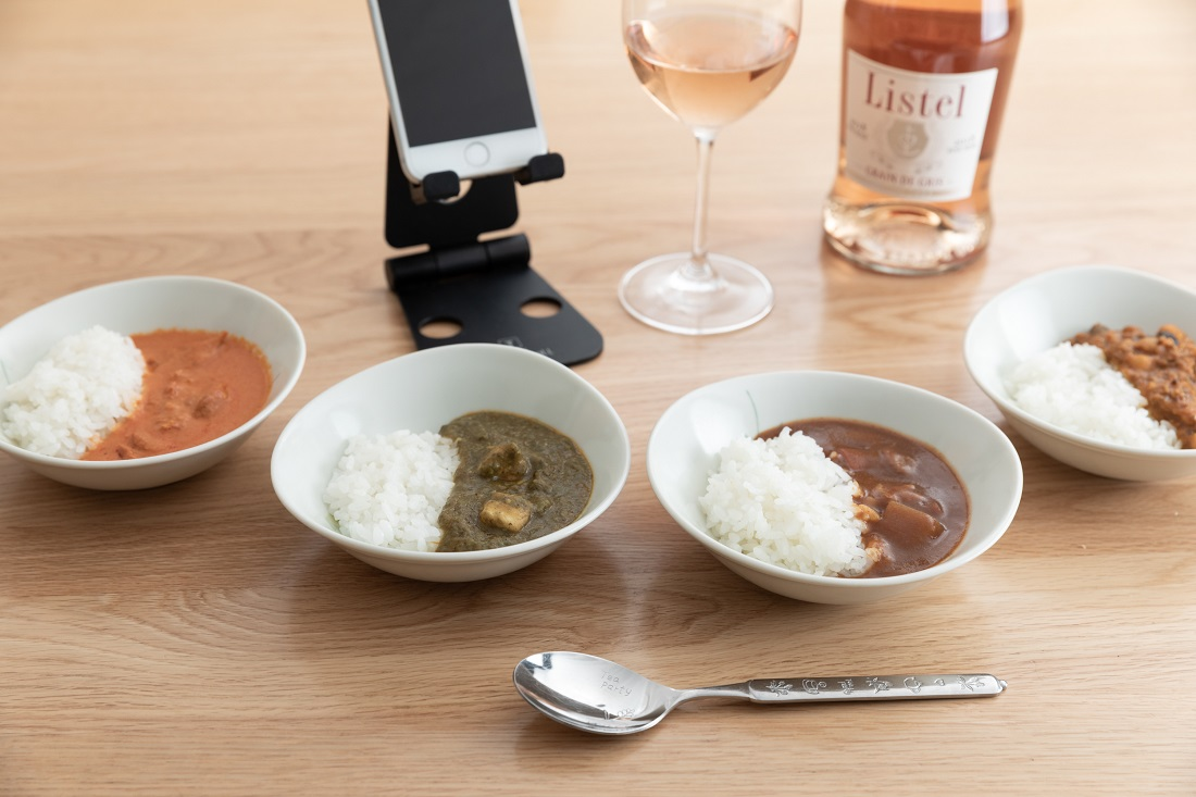#やってみロゼ!カレー編のオンライン飲み会で検証したリステル グリ・グラン・ド・グリと4種のカレーとスマホ