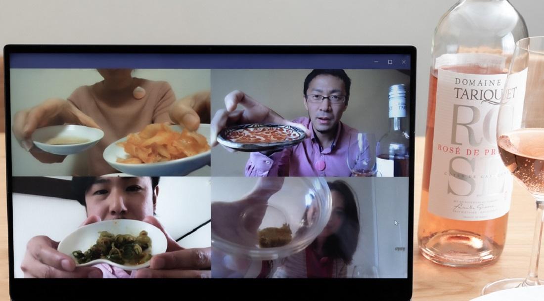 #やってみロゼ!餃子編オンライン飲み会で辛い系タレを見せ合うメンバー