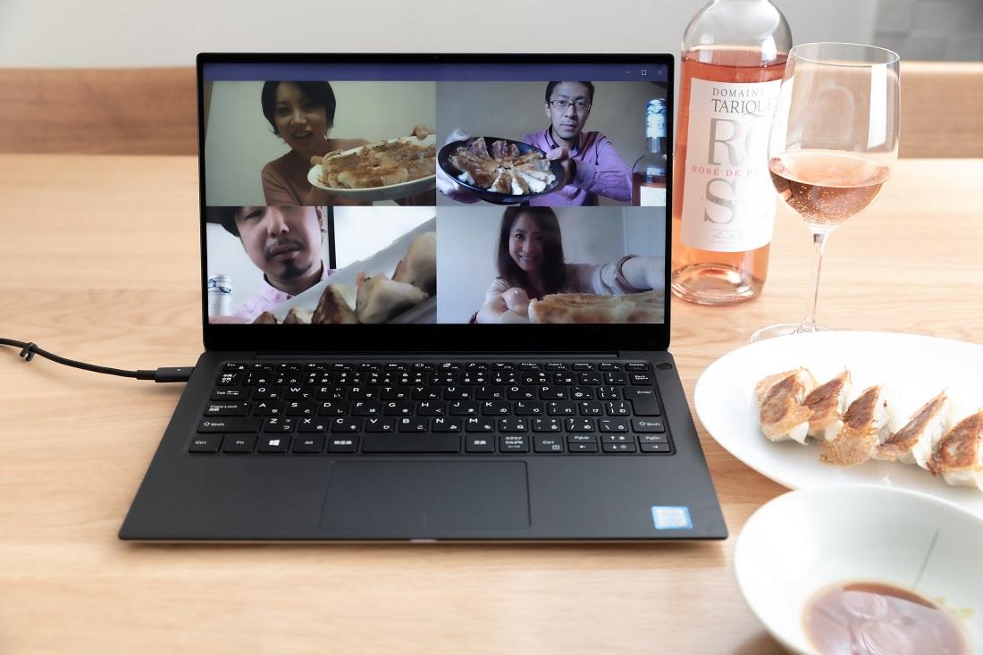 #やってみロゼ!餃子編オンライン飲み会でペアリングした餃子を見せ合うメンバー