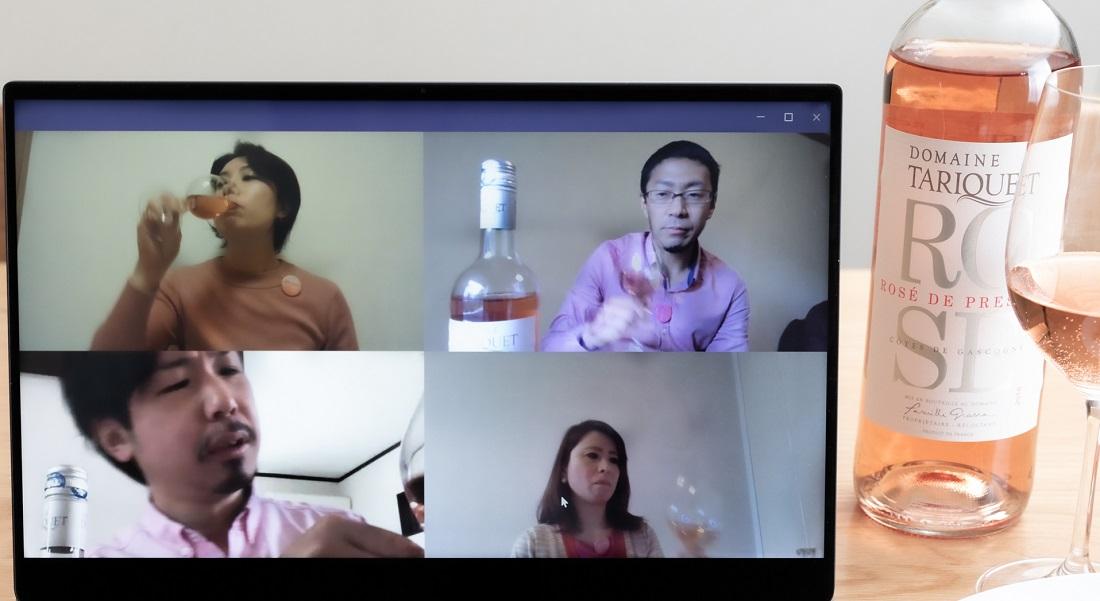 #やってみロゼ!餃子編オンライン飲み会で餃子とのペアリングを検証するメンバー