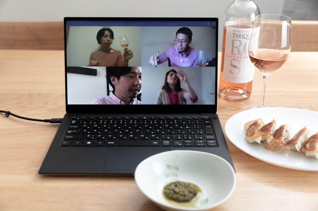 #やってみロゼ!餃子編オンライン飲み会でペアリングを確かめるメンバー