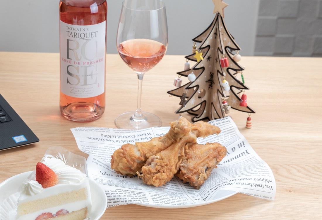 タリケ ロゼでクリスマスをフライドチキン、いちごのショートケーキ