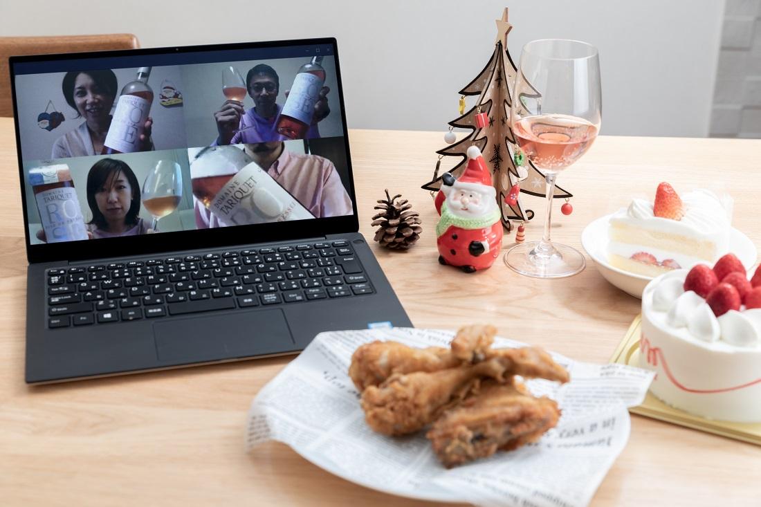 オンライン飲み会で検証ロゼワインとクリスマス定番のフライドチキン・いちごのオンライン飲み会で検証ロゼワインとクリスマス定番のフライドチキン・いちごのショートケーキ