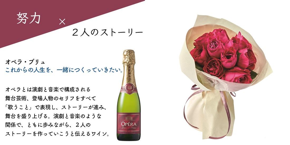 青山フラワーマーケットデザイン「オペラ・ブリュ ダズンローズペアグラスセット」ローズ×ワイン言葉