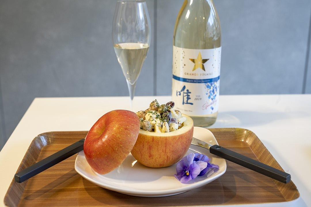 「グランポレール エスプリ ド ヴァン ジャポネ 唯 -YUI- スパークリング」と相性ぴったりの「林檎とチーズのマリネ」