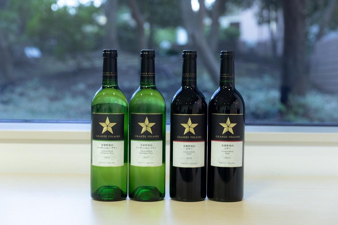 グランポレール 安曇野池田シリーズ 赤と白のワインボトル